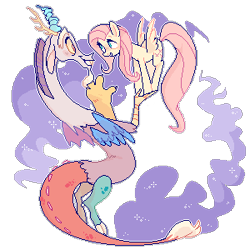 Size: 300x300   Tagged: safe, artist:waackery, discord, fluttershy, draconequus, pegasus, pony, discoshy, female, male, mare, pixel art, shipping, simple background, straight, transparent background