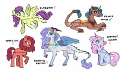Size: 1280x747   Tagged: safe, artist:dreamscapevalley, oc, oc only, oc:apple luv, oc:blossom, oc:prince philos, oc:princess raylah, oc:radiant gleam, earth pony, hybrid, pegasus, pony, unicorn, draconequus hybrid, female, interspecies offspring, male, mare, offspring, parent:big macintosh, parent:discord, parent:fluttershy, parent:prince blueblood, parent:princess celestia, parent:trixie, parents:bluetrix, parents:dislestia, parents:fluttermac, simple background, watermark, white background