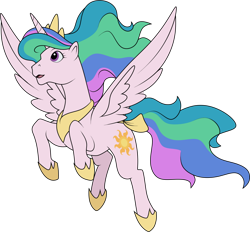 Size: 1280x1187   Tagged: safe, artist:helenosprime, princess celestia, alicorn, g1, alternate color palette, bow, female, flying, g4 to g1, generation leap, jewelry, mare, pinklestia, regalia, solo, tail bow
