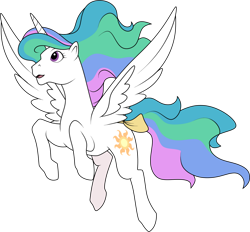 Size: 1280x1186   Tagged: safe, artist:helenosprime, princess celestia, alicorn, g1, bow, female, flying, g4 to g1, generation leap, mare, solo, tail bow