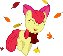 Size: 4261x3805   Tagged: safe, artist:ironm17, apple bloom, pony, absurd resolution, adorabloom, autumn, clothes, cute, female, leaf, leaves, scarf, simple background, solo, transparent background, vector