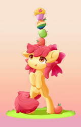 Size: 1050x1650 | Tagged: safe, artist:symbianl, apple bloom, earth pony, pony, adorabloom, apple, balancing, bipedal, bow, cheek fluff, cute, ear down, ear fluff, female, filly, food, gradient background, green apple, hair bow, hooves to the chest, leg fluff, muffin, neck fluff, solo, tongue out, zap apple