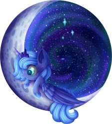 Size: 2653x2950 | Tagged: safe, artist:aquapegasus, princess luna, alicorn, pony, crescent moon, crown, cute, ear fluff, female, filly, galaxy, high res, hoof shoes, jewelry, lunabetes, mare, moon, profile, redraw, regalia, solo, space, stars, tangible heavenly object, woona, younger