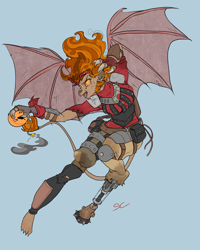 Size: 1890x2362 | Tagged: safe, artist:sourcherry, oc, gargoyle, fallout equestria, armor, bandana, bat wings, bomb, clothes, flying, hair, nameless oc, solo, weapon, wings