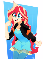 Size: 2356x3192 | Tagged: safe, artist:xan-gelx, sunset shimmer, equestria girls, abstract background, beautiful, beautisexy, blue eyes, clothes, cute, female, happy, human coloration, jacket, open mouth, pants, shimmerbetes, solo