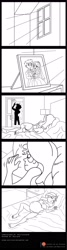 Size: 900x3356 | Tagged: safe, artist:niban-destikim, flash sentry, sunset shimmer, comic:inner thoughts, equestria girls, bathroom, bedroom, belly, belly button, big belly, clothed female nude male, clothed male nude male, clothes, comic, comic page, commission, dress, dresser, female, flashimmer, frame, lamp, lineart, male, monochrome, morning, nightstand, patreon, patreon logo, picture frame, preggo shimmer, pregnant, pregnant equestria girls, prologue, shipping, shower, sleeping, straight, sunlight, sunrise, sunset preggers, tuxedo, wedding dress
