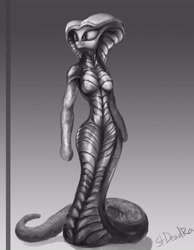Size: 2211x2847 | Tagged: safe, artist:stdeadra, anthro, earth pony, original species, snake pony, solo, viper, xcom 2