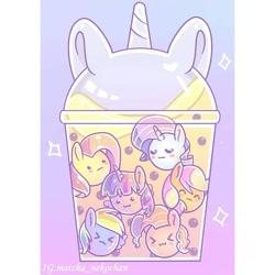 Size: 720x720   Tagged: safe, artist:matcha_nekochan, applejack, fluttershy, pinkie pie, rainbow dash, rarity, twilight sparkle, earth pony, food pony, original species, pegasus, pony, unicorn, abstract background, bubble tea, chibi, eyes closed, food, mane six, ponified, tapioca