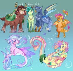 Size: 2060x2000 | Tagged: safe, artist:bunnari, coral currents, gallus, high tide (g4), sandbar, silverstream, smolder, yona, classical hippogriff, dragon, earth pony, griffon, hippogriff, merpony, pony, seapony (g4), yak, alternate design, bisexual, bow, cloven hooves, colored hooves, dragoness, female, gallbar, galyona, galyonabar, gay, hair bow, jewelry, male, monkey swings, necklace, polyamory, shipping, story included, straight, student six, teenager, underwater, yona gets all the stallions, yonabar