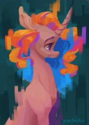 Size: 1600x2264 | Tagged: safe, artist:yuyusunshine, oc, oc:fruit mix, pony, unicorn, bust, error, female, glitch, mare, portrait, solo