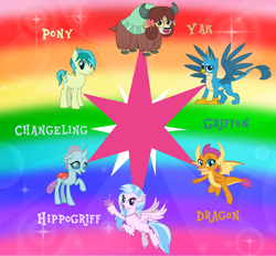 Size: 5160x4785 | Tagged: safe, artist:andoanimalia, gallus, ocellus, sandbar, silverstream, smolder, yona, changedling, changeling, classical hippogriff, dragon, earth pony, griffon, hippogriff, pony, yak, cute, diaocelles, diastreamies, gallabetes, sandabetes, smolderbetes, student six, twilight sparkle cutie mark, yonadorable