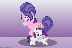 Size: 4500x3000 | Tagged: safe, artist:mrkat7214, part of a set, cookie crumbles, rarity, sweetie belle, pony, unicorn, baby, baby belle, baby pony, baby sweetie belle, belle sisters, cute, ear piercing, earring, female, filly, filly rarity, grin, high res, hoofbump, jewelry, like mother like daughter, like parent like child, mother and child, mother and daughter, mother's day, piercing, raised hoof, siblings, sisters, smiling, trio, young, younger