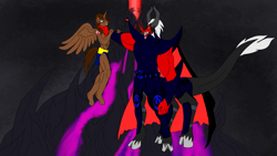 Size: 1920x1080 | Tagged: safe, artist:kahnac, lord tirek, oc, oc:courageous heart, alicorn, anthro, centaur, series:kingdom of cav, series:the light of equestria, alicorn oc, armor, blue eyes, chestnut fur, dark brown hair, dark fur, demon horns, devil figure, duel, fight, horn, long tail, male alicorn, male alicorn oc, midnight mountain, pupilless eyes, red and black cape, red skin, silver hair, solo, the supreme lord of darkness, villain cape, wings, yellow eyes