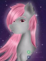 Size: 1200x1599 | Tagged: safe, artist:zerotwo1312, oc, oc only, earth pony, pony, bust, ear piercing, earring, earth pony oc, jewelry, piercing, solo, watermark