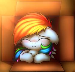 Size: 2500x2400 | Tagged: safe, artist:heavymetalbronyyeah, rainbow dash, pony, blushing, box, cardboard box, cheek fluff, chest fluff, crying, cute, dashabetes, ear fluff, eyes closed, floppy ears, high res, pony in a box, prone, sad, sadorable, shoulder fluff, solo