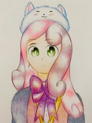 Size: 1920x2560 | Tagged: safe, artist:stardust0130, sweetie belle, human, crossover, female, hat, humanized, solo, traditional art