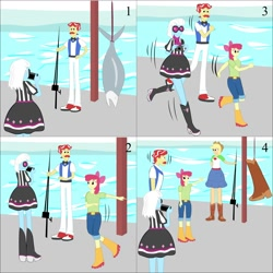 Size: 2000x2000   Tagged: safe, artist:lzh, apple bloom, applejack, flam, photo finish, equestria girls, boots, comic, fish tank, old master q, shoes