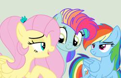 Size: 1534x982 | Tagged: safe, artist:circuspaparazzi5678, artist:elementbases, fluttershy, rainbow dash, oc, oc:rainbow blitz, pegasus, pony, base used, ear piercing, earring, female, flutterdash, jewelry, lesbian, magical lesbian spawn, multicolored hair, next generation, offspring, parent:fluttershy, parent:rainbow dash, parents:flutterdash, piercing, rainbow hair, shipping