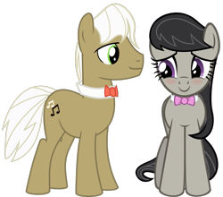 Size: 1611x1416 | Tagged: safe, artist:jaybugjimmies, artist:zacatron94, edit, vector edit, frederic horseshoepin, octavia melody, earth pony, pony, blushing, female, fredtavia, looking at each other, male, mare, ribbon, shipping, simple background, stallion, straight, transparent background, vector