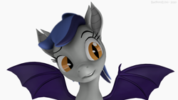 Size: 1280x720 | Tagged: safe, artist:batponyecho, oc, oc only, oc:echo, bat pony, pony, 3d, bat pony oc, bat wings, female, grin, implied mango, mare, sfm pony, simple background, smell, smiling, solo, source filmmaker, spread wings, tasty, that batpony sure does love mangoes, white background, wings