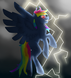 Size: 1818x1975 | Tagged: safe, artist:mikeyboo, rainbow dash, pegasus, pony, secrets and pies, dark, evil pie hater dash, evil pie hating rainbow dash, evil rainbow dash, lightning, solo