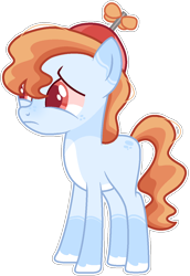 Size: 876x1270 | Tagged: safe, artist:kurosawakuro, earth pony, pony, hat, male, offspring, parent:button mash, parent:coconut cream, propeller hat, simple background, solo, teenager, transparent background
