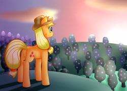 Size: 3500x2500   Tagged: safe, artist:brilliant-luna, applejack, earth pony, pony, apple, apple tree, applejack's hat, cheek fluff, cloud, cowboy hat, dawn, female, hat, solo, sweet apple acres, tree