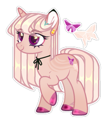 Size: 763x874 | Tagged: safe, artist:sweet-psycho-uwu, oc, pony, unicorn, ear piercing, earring, female, jewelry, mare, offspring, parent:fluttershy, parent:trenderhoof, parents:trendershy, piercing, simple background, solo, transparent background