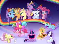 Size: 1280x960 | Tagged: safe, artist:pandoraqueens, angel bunny, applejack, fluttershy, pinkie pie, rainbow dash, rarity, twilight sparkle, alicorn, earth pony, pegasus, pony, unicorn, the last problem, balloon, female, filly, filly applejack, filly fluttershy, filly pinkie pie, filly rainbow dash, filly rarity, filly twilight sparkle, floating, gameloft, magic, mane six, older, older applejack, older fluttershy, older mane six, older pinkie pie, older rainbow dash, older rarity, older twilight, princess twilight 2.0, then watch her balloons lift her up to the sky, twilight sparkle (alicorn), unicorn twilight, younger