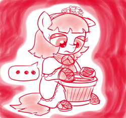 Size: 640x600 | Tagged: safe, artist:ficficponyfic, oc, oc:mulberry telltale, cyoa:madness in mournthread, boots, bucket between legs, cyoa, dissatisfied, eyeshadow, female, flower, frown, headband, holding bucket, looking down, looking into container, makeup, mare, monochrome, mystery, neckerchief, not impressed, part of a series, part of a set, shoes, solo, speech bubble, story included