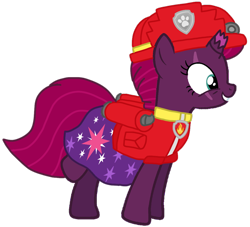 Size: 1102x1001 | Tagged: safe, artist:徐詩珮, fizzlepop berrytwist, tempest shadow, pony, unicorn, series:sprglitemplight diary, series:sprglitemplight life jacket days, series:springshadowdrops diary, series:springshadowdrops life jacket days, alternate universe, base used, clothes, cute, marshall (paw patrol), paw patrol, simple background, transparent background
