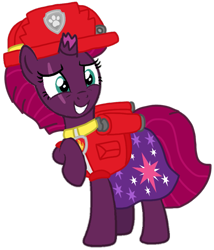 Size: 891x1043 | Tagged: safe, artist:徐詩珮, fizzlepop berrytwist, tempest shadow, pony, unicorn, series:sprglitemplight diary, series:sprglitemplight life jacket days, series:springshadowdrops diary, series:springshadowdrops life jacket days, alternate universe, base used, clothes, cute, marshall (paw patrol), paw patrol, simple background, transparent background