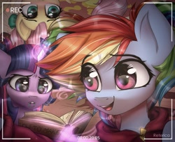 Size: 2500x2038 | Tagged: safe, artist:reterica, fluttershy, rainbow dash, twilight sparkle, earth pony, pegasus, pony, alternate hairstyle, book, camera, camera shot, female, glowing horn, horn, levitation, magic, mouth hold, open mouth, party, pigtails, telekinesis, trio