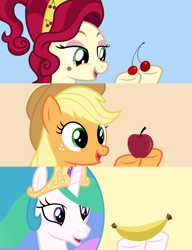 Size: 4600x6000 | Tagged: safe, artist:parclytaxel, applejack, cherry jubilee, princess celestia, alicorn, earth pony, pony, .svg available, absurd resolution, apple, banana, bananalestia, cherry, female, food, hoof hold, mare, open mouth, patreon, smiling, vector