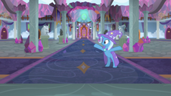Size: 1280x720 | Tagged: safe, screencap, trixie, pony, unicorn, a horse shoe-in, bipedal, cape, clothes, crystal, female, hat, hooves in air, mare, rearing, school of friendship, solo, spreading, trixie's cape, trixie's hat