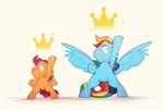 Size: 1624x1096 | Tagged: safe, artist:luciferamon, rainbow dash, scootaloo, pegasus, pony, bipedal, crown, cute, cutealoo, dashabetes, duo, female, filly, jewelry, mare, nose in the air, pose, regalia, smiling