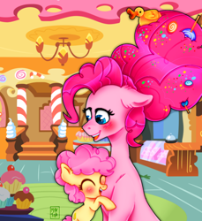 Size: 1100x1200 | Tagged: safe, artist:meqiopeach, li'l cheese, pinkie pie, bird, duck, earth pony, pony, the last problem, art, blushing, candy, dessert, drawing, eyes closed, fanart, female, foal, food, happy, hug, lollipop, love, mare, messy hair, mother and child, my little pony, older, older pinkie pie, parent, pink, puffy, sugarcube corner