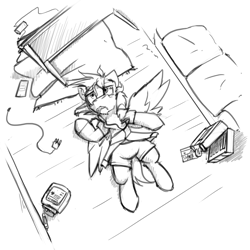 Size: 4000x4000 | Tagged: safe, artist:captainhoers, oc, oc:cutting chipset, pegasus, pony, biohazard, briefcase, carpet, cellphone, charger, floor, lying down, phone, sad, sierra nevada, smartphone, table