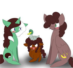 Size: 1280x1195 | Tagged: safe, artist:kaggy009, oc, oc:bo diddly, oc:peppermint pattie (unicorn), bird, duck, pegasus, pony, unicorn, ask peppermint pattie, female, filly, male, mare, stallion