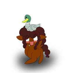 Size: 1000x1000 | Tagged: safe, artist:kaggy009, oc, bird, duck, pegasus, pony, ask peppermint pattie, blushing, female, filly, solo