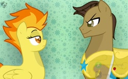Size: 1024x634 | Tagged: safe, artist:zerotwo1312, spitfire, oc, earth pony, pegasus, pony, abstract background, duo, earth pony oc, female, frown, looking at each other, male, mare, royal guard, stallion, unamused, watermark