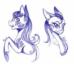 Size: 1900x1700 | Tagged: safe, artist:shkura2011, earth pony, pony, bust, female, mare, monochrome, portrait, solo