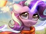 Size: 2000x1500 | Tagged: safe, artist:reterica, starlight glimmer, pony, unicorn, female, glowing horn, horn, kite, magic, mare, telekinesis