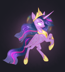 Size: 900x1000 | Tagged: safe, artist:2zik, twilight sparkle, alicorn, pony, the last problem, bipedal, black background, crown, female, glowing eyes, hoof shoes, jewelry, mare, peytral, princess twilight 2.0, rainbow, rearing, regalia, simple background, solo, twilight sparkle (alicorn)