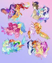 Size: 2000x2403 | Tagged: safe, artist:bunnari, applejack, capper dapperpaws, coco pommel, fleur-de-lis, fluttershy, pinkie pie, princess cadance, princess skystar, rainbow dash, rarity, shining armor, sunburst, sunset shimmer, twilight sparkle, vapor trail, abyssinian, alicorn, earth pony, hippogriff, pegasus, pony, unicorn, princessverse, alicornified, alternate hairstyle, alternate universe, applecorn, bedroom eyes, bisexual, blushing, capperity, cococapper, cococapperity, crack shipping, ear piercing, earring, everyone is an alicorn, eyes closed, eyeshadow, female, fleur-de-jack, fluttercorn, flutterdance, freckles, gay, glasses, hug, jewelry, kiss on the cheek, kissing, lesbian, makeup, male, mane six, mane six alicorns, mare, markings, marshmallow coco, necklace, one eye closed, piercing, pinkiecorn, polyamory, race swap, rainbowcorn, raricorn, regalia, shimmercorn, shiningburst, shiningburstdance, shiningcadance, shipping, skypie, stallion, straight, sundence, sunsetsparkle, twilight sparkle (alicorn), vapordash, wall of tags, winghug, wink, xk-class end-of-the-world scenario