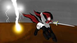 Size: 3840x2160 | Tagged: safe, artist:astralr, oc, oc only, oc:blackjack, cyborg, pony, unicorn, fallout equestria, fallout equestria: project horizons, cloud, cloudy, fanfic art, female, lightning, mare, rain, running, solo, sword, wasteland, weapon