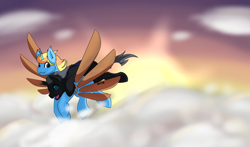 Size: 2048x1204 | Tagged: safe, artist:noxi1_48, oc, oc only, oc:skydreams, oc:tectus ignis, changeling, pony, unicorn, artificial wings, augmented, changeling oc, cloud, excited, female, flying, mare, riding, shipping, skytus, sunset, wings