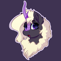 Size: 4000x4000 | Tagged: safe, artist:witchtaunter, oc, oc only, oc:zakira, kirin, absurd resolution, blonde, blonde hair, bust, commission, cute, female, kirin oc, open mouth, outline, portrait, purple background, simple background, solo, surprised