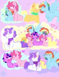 Size: 1000x1300 | Tagged: safe, artist:shinningblossom12, applejack, fluttershy, pinkie pie, rainbow dash, rarity, twilight sparkle, alicorn, earth pony, pegasus, pony, unicorn, applejack (male), bubble, butterscotch, chest fluff, dusk shine, elusive, gay, heart, male, mane six, rainbow blitz, rule 63, stallion, twilight sparkle (alicorn)