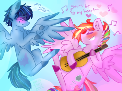 Size: 800x600 | Tagged: safe, artist:shinningblossom12, oc, oc:candy luck, oc:rainbow ink, pegasus, pony, blushing, cloud, colored hooves, eyes closed, flying, gay, male, music notes, oc x oc, pegasus oc, shipping, singing, smiling, stallion, wings